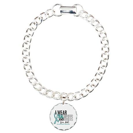 I Wear Teal White 10 Cervical Cancer Charm Bracele