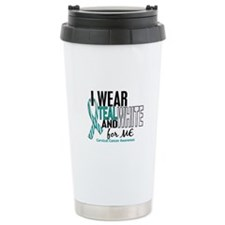 I Wear Teal White 10 Cervical Cancer Travel Mug