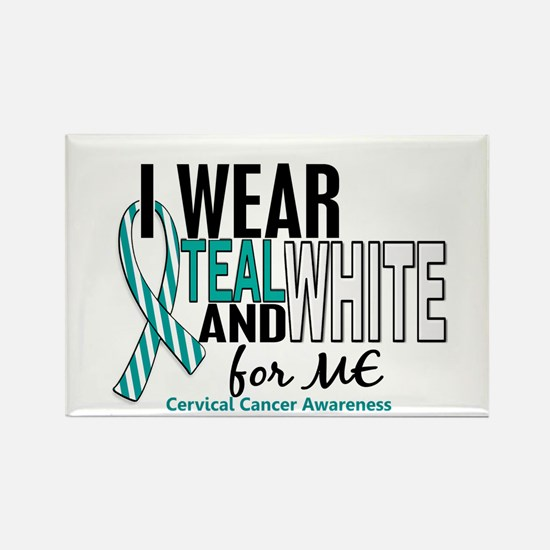 I Wear Teal White 10 Cervical Cancer Rectangle Mag