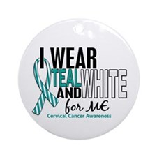 I Wear Teal White 10 Cervical Cancer Ornament (Rou
