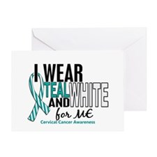 I Wear Teal White 10 Cervical Cancer Greeting Card