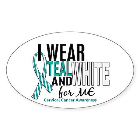 I Wear Teal White 10 Cervical Cancer Sticker (Oval