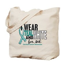 I Wear Teal White 10 Cervical Cancer Tote Bag