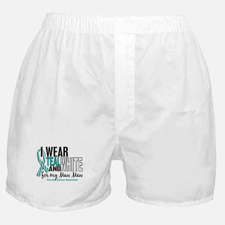 I Wear Teal White 10 Cervical Cancer Boxer Shorts