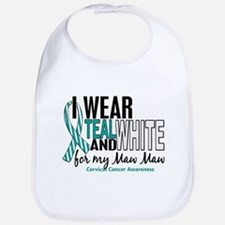 I Wear Teal White 10 Cervical Cancer Bib