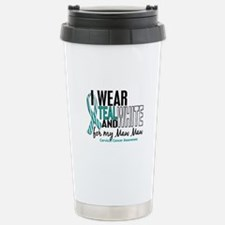 I Wear Teal White 10 Cervical Cancer Travel Mug