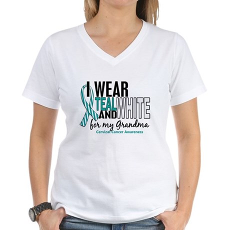 I Wear Teal White 10 Cervical Cancer Women's V-Nec