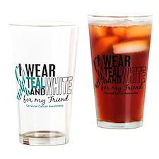 I Wear Teal White 10 Cervical Cancer Drinking Glas