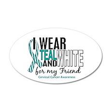 I Wear Teal White 10 Cervical Cancer 22x14 Oval Wa