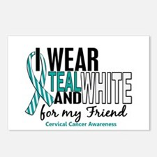 I Wear Teal White 10 Cervical Cancer Postcards (Pa