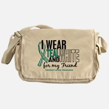 I Wear Teal White 10 Cervical Cancer Messenger Bag