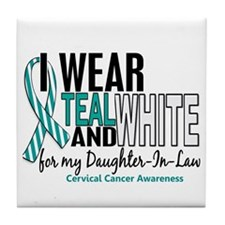 I Wear Teal White 10 Cervical Cancer Tile Coaster