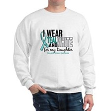I Wear Teal White 10 Cervical Cancer Sweatshirt