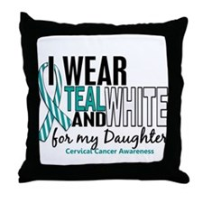 I Wear Teal White 10 Cervical Cancer Throw Pillow