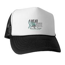 I Wear Teal White 10 Cervical Cancer Cap