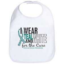 I Wear Teal White 10 Cervical Cancer Bib