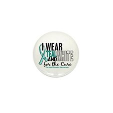 I Wear Teal White 10 Cervical Cancer Mini Button (
