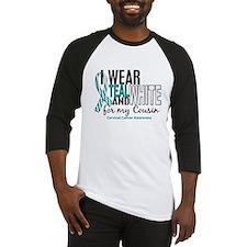 I Wear Teal White 10 Cervical Cancer Baseball Jers
