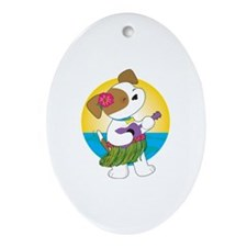 Cute Puppy Hawaii Ornament (Oval)