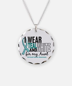 I Wear Teal White 10 Cervical Cancer Necklace Circ