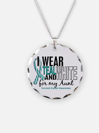 I Wear Teal White 10 Cervical Cancer Necklace Circ