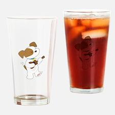 Cute Puppy Ukulele Drinking Glass