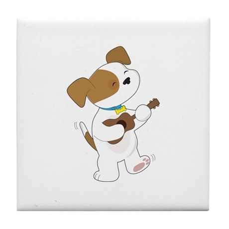 Cute Puppy Ukulele Tile Coaster