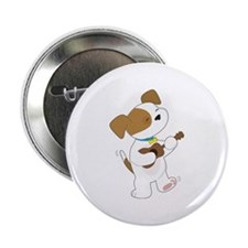 "Cute Puppy Ukulele 2.25"" Button"