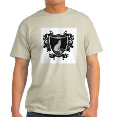 Black Wolf Shield Ash Grey T-Shirt