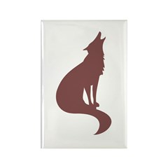 Brown Wolf Rectangle Magnet