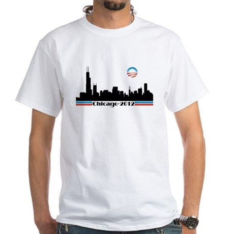 Obama 2012 Chicago Skyline - White T-Shirt
