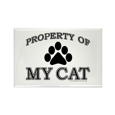 Property of My Cat with 5-Toe Rectangle Magnet