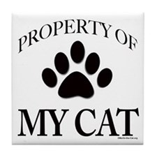 Property of My Cat with 5-Toe Tile Coaster