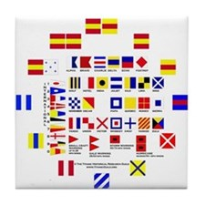 Cute Nautical flag Tile Coaster