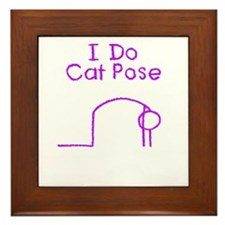 Purple Cat Pose Framed Tile