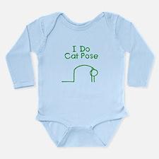 Green Cat Pose Long Sleeve Infant Bodysuit