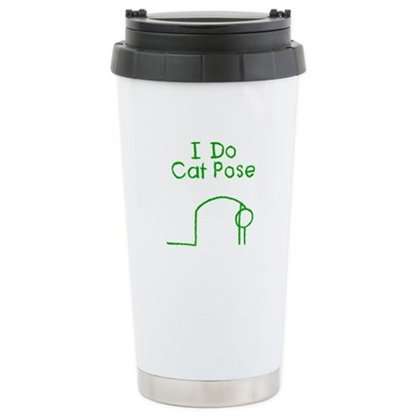 Green Cat Pose Stainless Steel Travel Mug