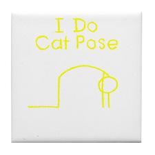 Yellow Cat Pose Tile Coaster