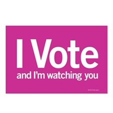 I Vote Postcards (Package of 8) Pink