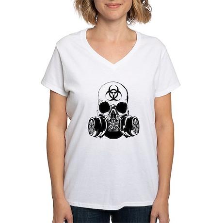 Biohazard Zombie Skull Women's V-Neck T-Shirt