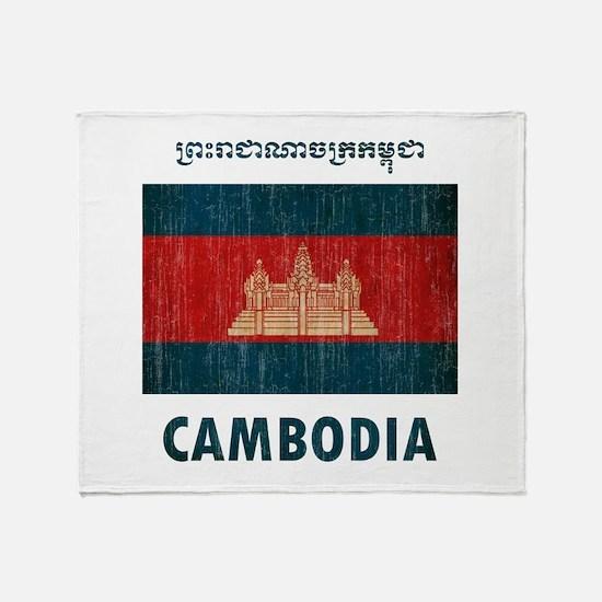 Vintage Cambodia Throw Blanket