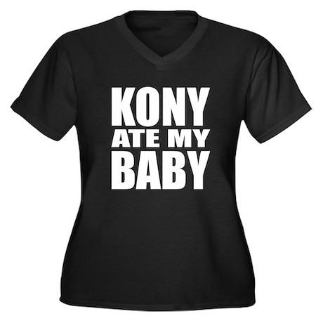 Kony Ate My Baby Women's Plus Size V-Neck Dark T-S