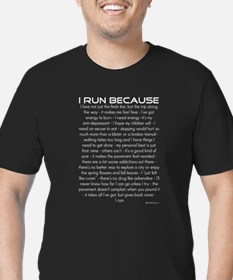 I Run Because Men's Fitted T-Shirt (dark)