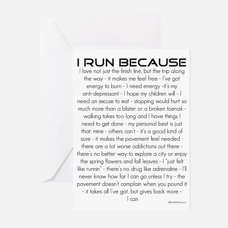 I Run Because Greeting Cards (Pk of 10)