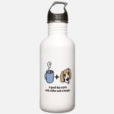 Coffee and a beagle Water Bottle