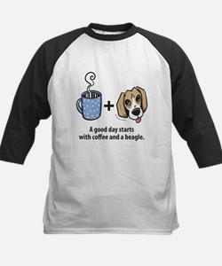 Coffee and a beagle Kids Baseball Jersey