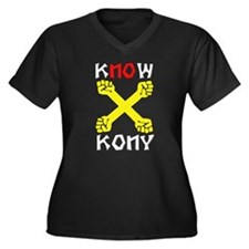 KNWO KONY Women's Plus Size V-Neck Dark T-Shirt