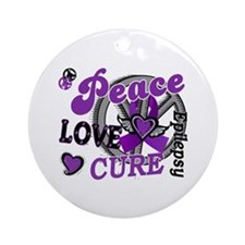 Peace Love Cure 2 Epilepsy Ornament (Round)