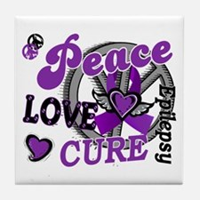 Peace Love Cure 2 Epilepsy Tile Coaster
