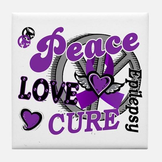Peace Love Cure 2 Epilepsy Tile Coaster